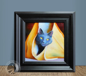 "Bag Puss - 12""x12"" Framed Oil Painting"