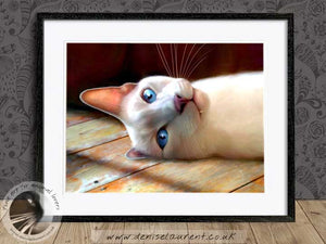 siamese cat lying on the floor framed artwork