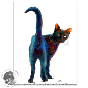 standing cheeky black cat art print
