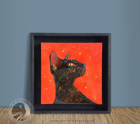"Black Cat On Red - 8""x8"" Resin Painting"