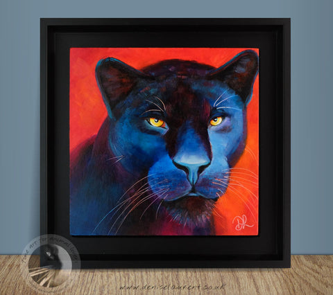 "Black Panther - 8""x8"" Oil Painting Framed"