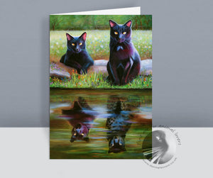 Reflections Black Cat Card