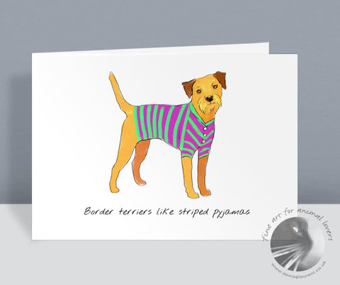 Border Terriers Like Striped Pyjamas Card