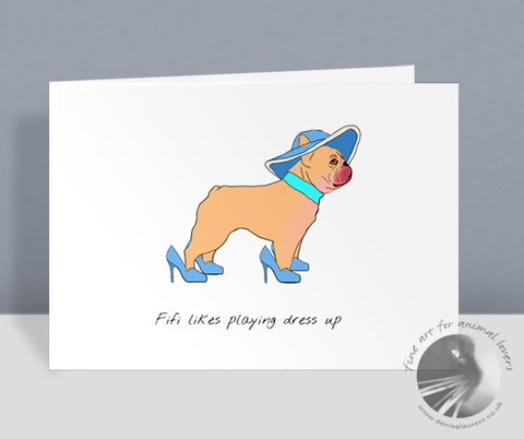 Playing Dress Up Frenchie Card