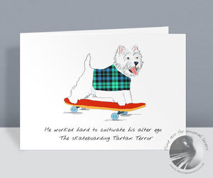 The Skateboarding Tartan Terror Card