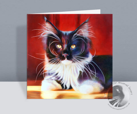 The Delicious Miss Honey Maine Coon Cat Card