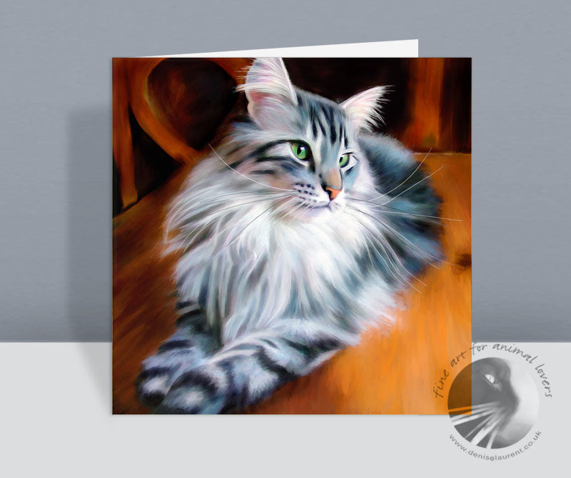 Lunchtime Maine Coon Cat Card