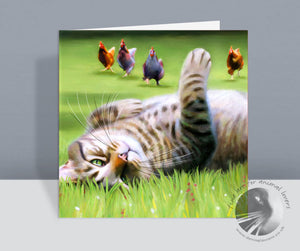 Here Come The Girls Tabby Cat Card