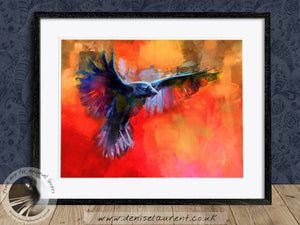 Coming In To Land - Crow Bird Print