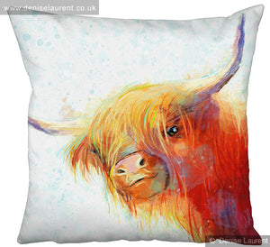 Rose In The Snow Highland Cow Cushion