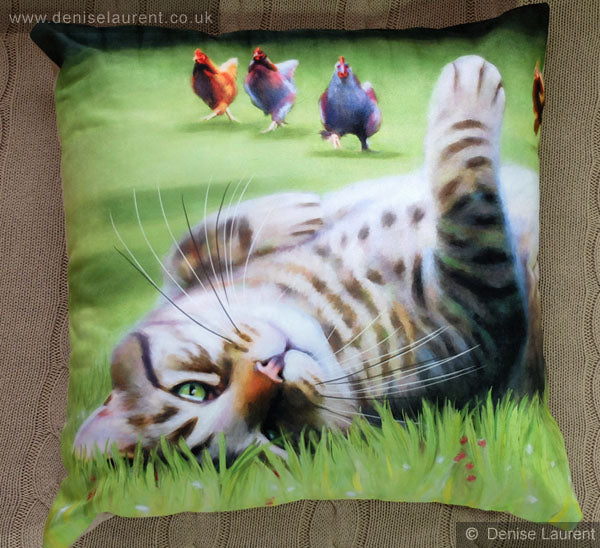 Here Come The Girls Tabby Cat Cushion