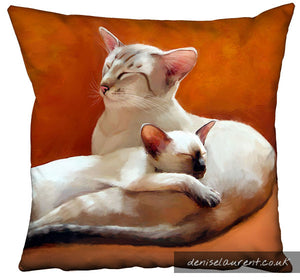 Father and Daughter Siamese Cat Cushion