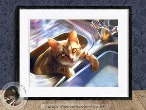 bengal cat in the sink framed wallart