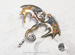 Dragon Stick Pin - Silver Gold