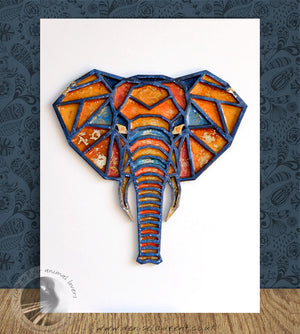 Elephant Head - Resin Painting