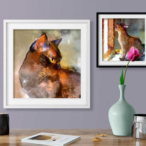 contemporary burmese cat wallart framed