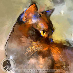 contemporary abstract brown burmese cat art print