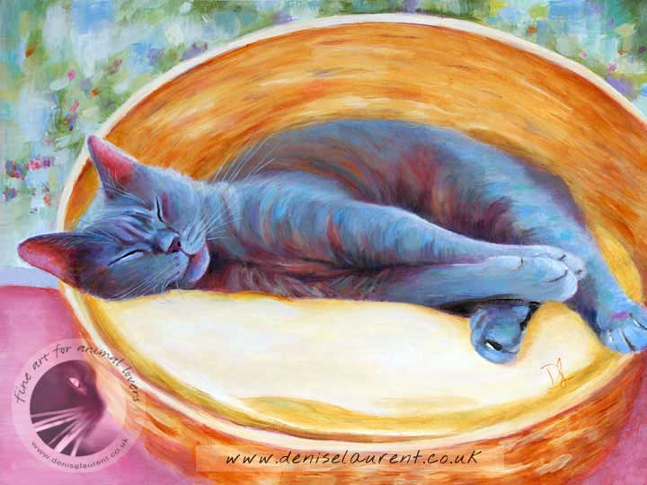 art print of a blue cat fast asleep