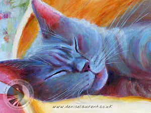 detail of a blue cat fast alseep art print