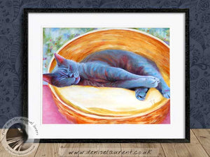 blue cat artwork framed