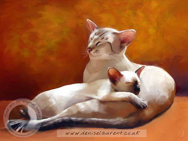 an art print of a siamese cat and kitten curled up on an orange sofa
