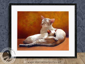 siamese cat and kitten artwork framed