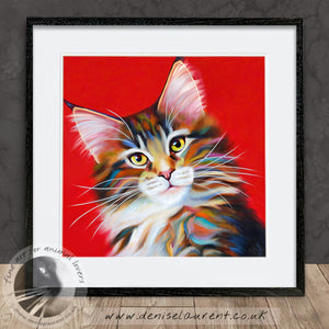 Firecracker - Tabby Maine Coon Cat Print