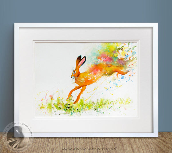 "Flying Hare - 16""x12"" Watercolour Painting"