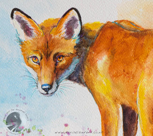 "Fox On The Wall - 18""x12"" Watercolour Painting"