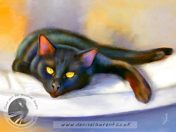 Golden Eyes Black Cat Print