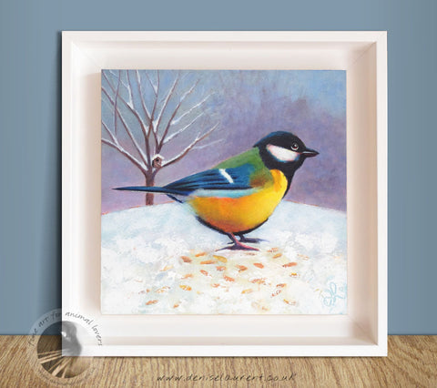 "Great Tit Cafe - 8x8"" Acrylic Painting Framed"