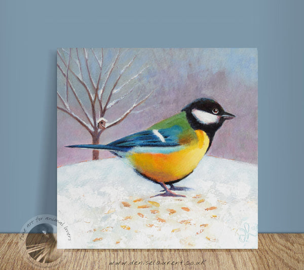 "Great Tit Cafe - 8x8"" Acrylic Painting"