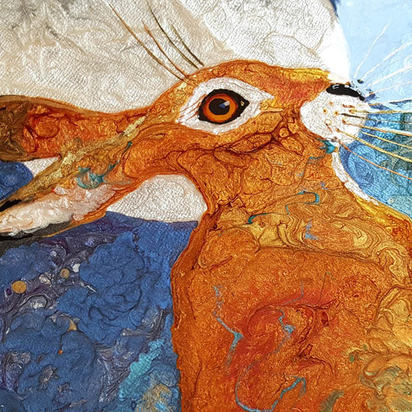 Hare And Moon - Resin Painting