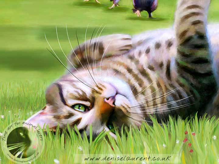 tabby cat art print - cat lying in the grass and chickens come running