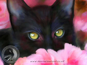 In The Roses - Black Cat Print