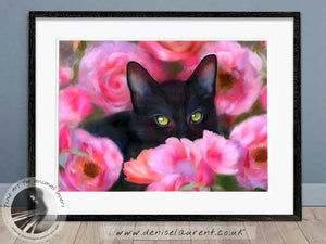 black cat and roses artwork framed