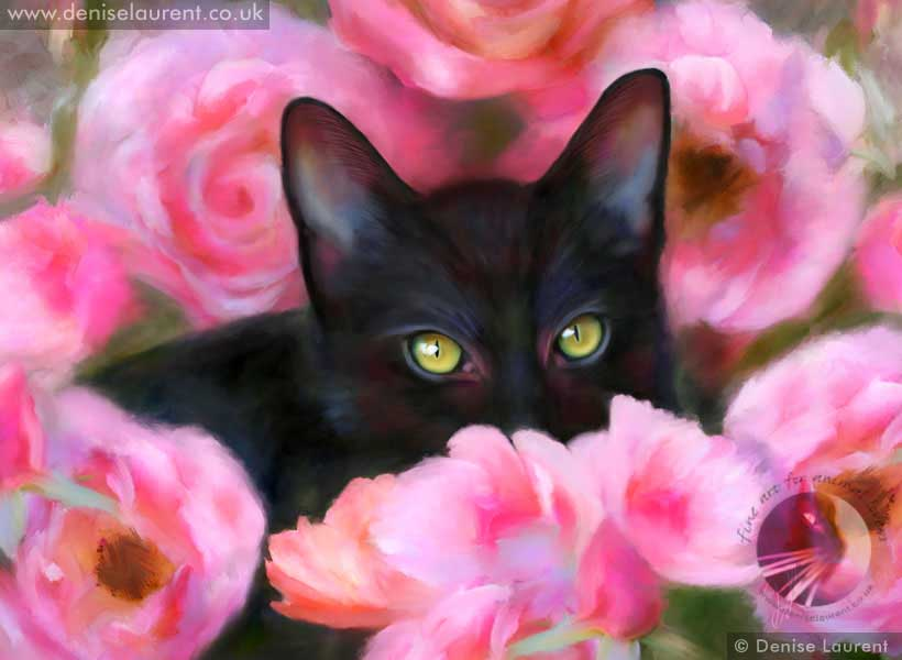 fine art print of a black kitten hiding in the pink roses