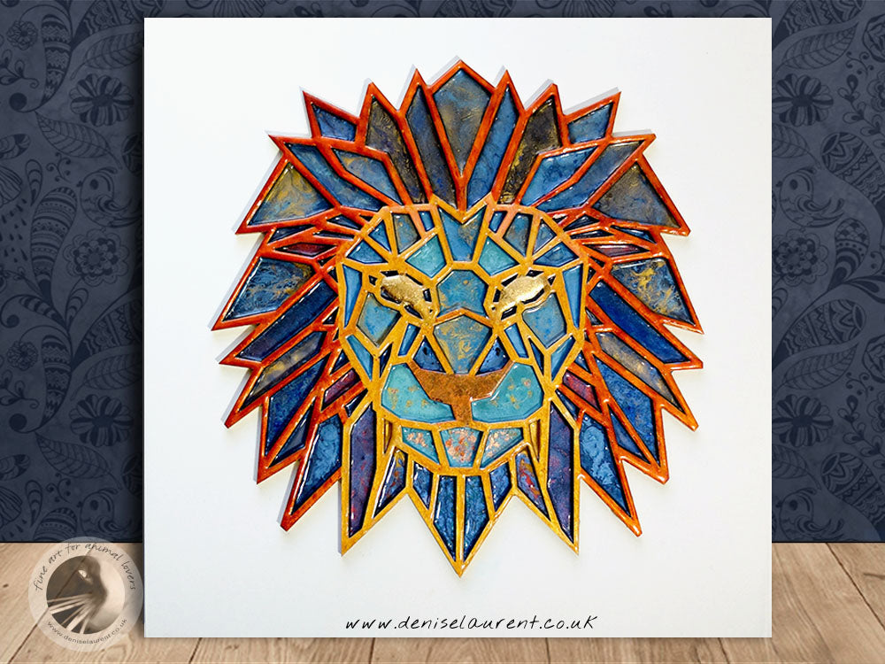 "Lion Head - 12x12"" Resin Painting"