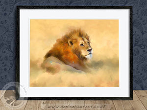 Lion In The Grass - Big Cat Print