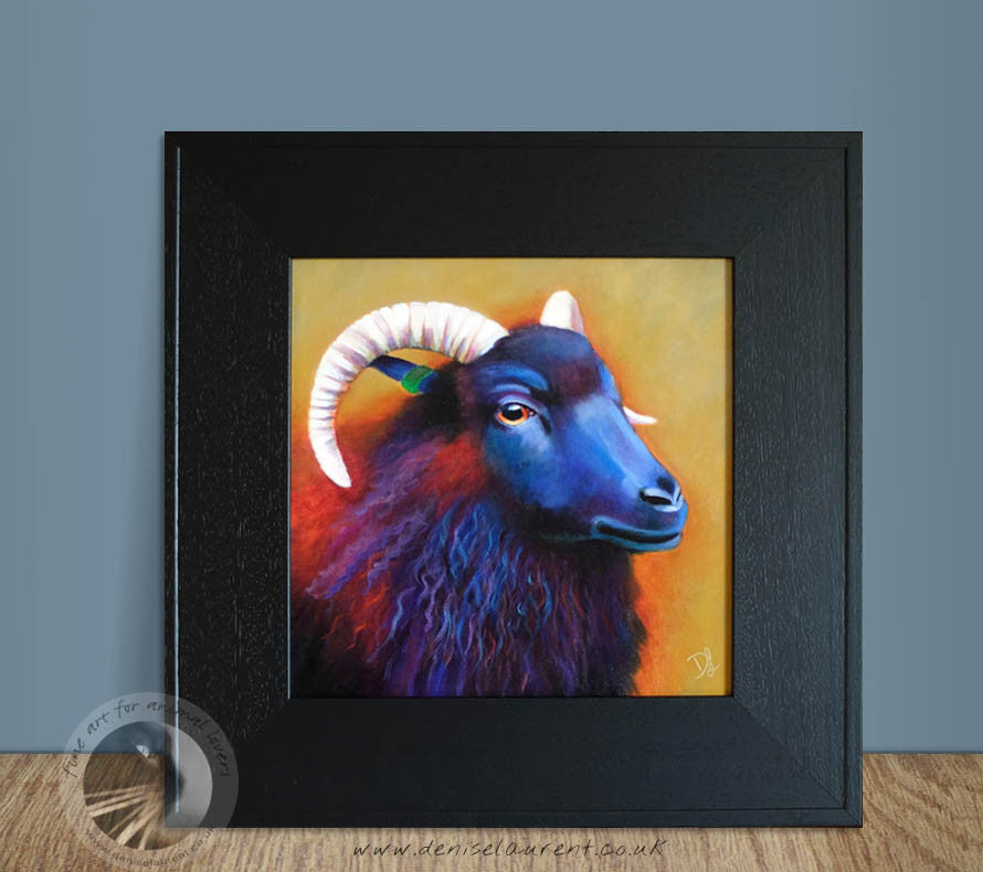"Louisa - Black Sheep - 12x12"" Acrylic Painting Framed"