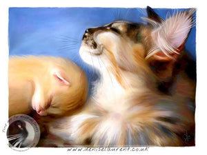 Mother maine coon cat and her ginger kitten art print