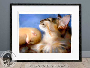 mother cat and kitten artwork framed