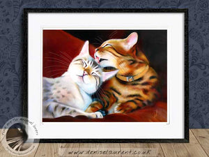 snow bengal and brown bengal cats artwork framed