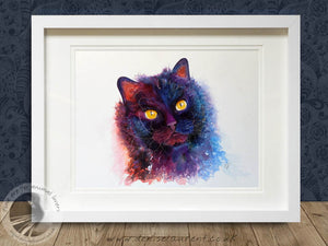 Nellie - Black Cat Watercolour Painting