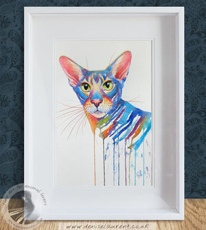 Ollie - Oriental Cat Watercolour Painting