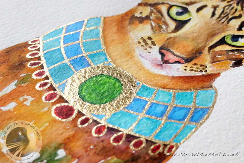 "Pharaoh Cat - 16""x12"" Watercolour Painting"