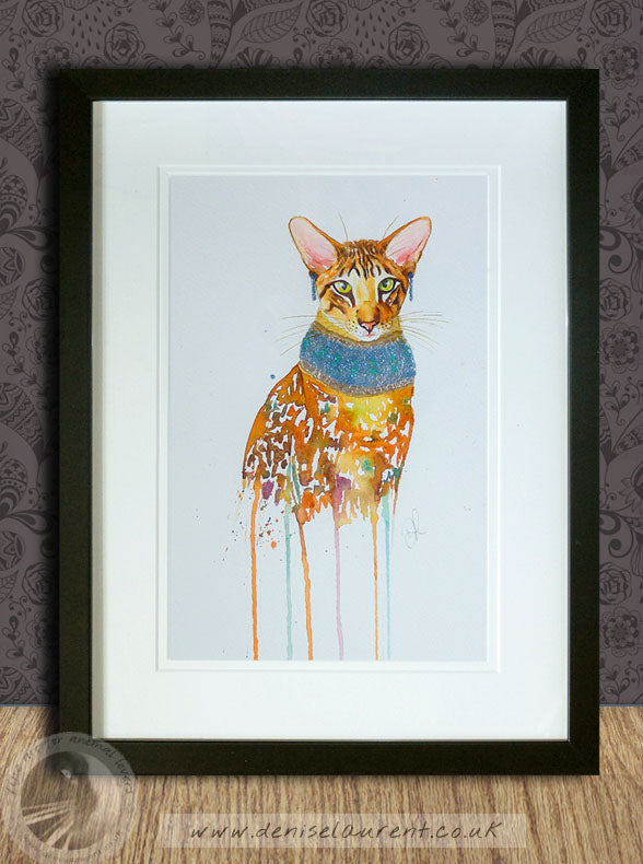 Pharaoh Cat - Oriental Cat Watercolour Painting