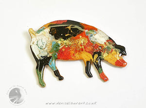 Piggy Brooch - Black Red White