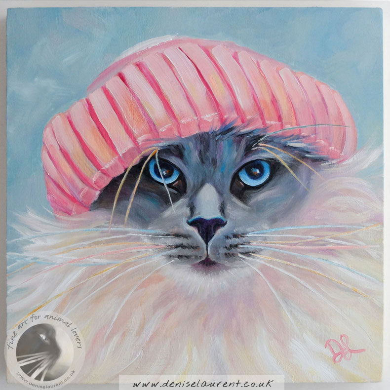 "Pink Hat - 8""x8"" Cat Oil Painting"