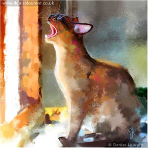 yelling colourful brown burmese cat art print